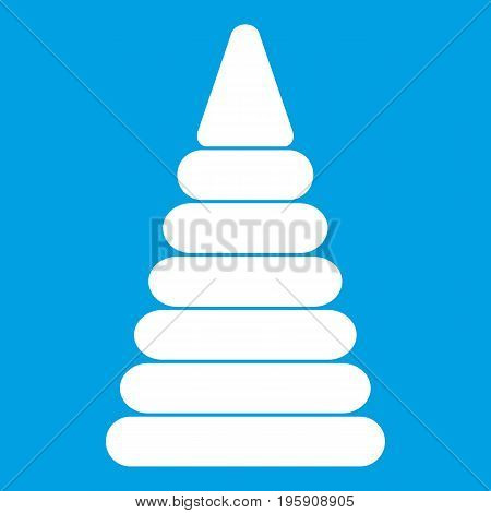 Pyramid built from plastic rings icon white isolated on blue background vector illustration