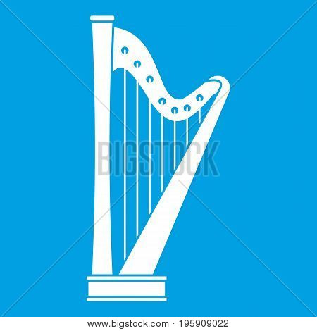 Harp icon white isolated on blue background vector illustration