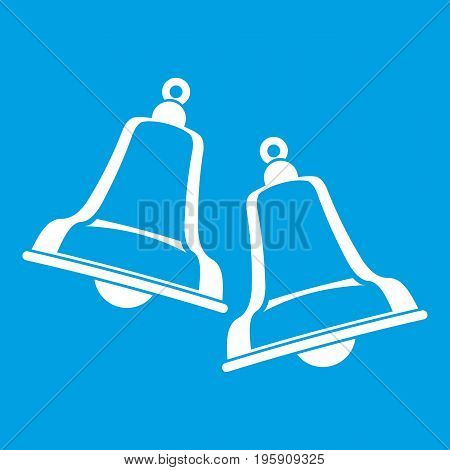 Bells icon white isolated on blue background vector illustration