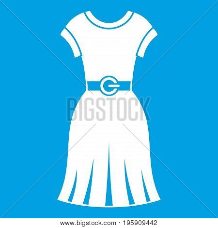 Dress icon white isolated on blue background vector illustration
