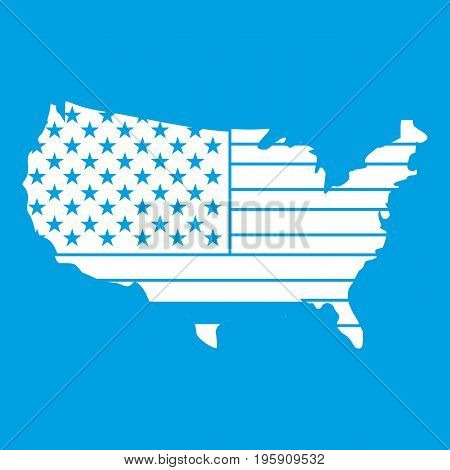 American map icon white isolated on blue background vector illustration