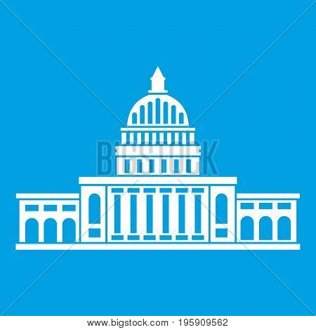 White house icon white isolated on blue background vector illustration