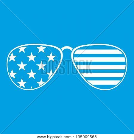 American glasses icon white isolated on blue background vector illustration