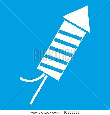 Petard icon white isolated on blue background vector illustration