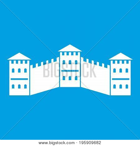 Great Wall of China icon white isolated on blue background vector illustration