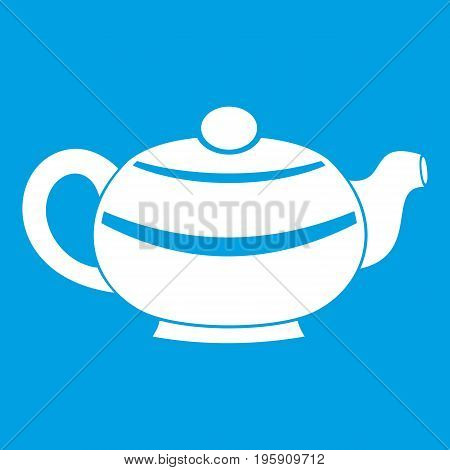 Chinese teapot icon white isolated on blue background vector illustration