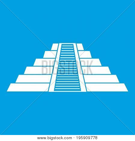 Ziggurat in Chichen Itza, Yucatan icon white isolated on blue background vector illustration