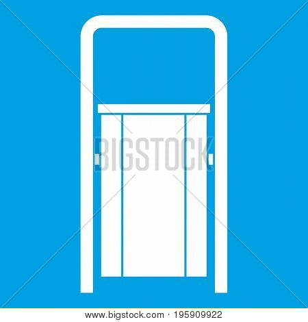 Public garbage bin icon white isolated on blue background vector illustration