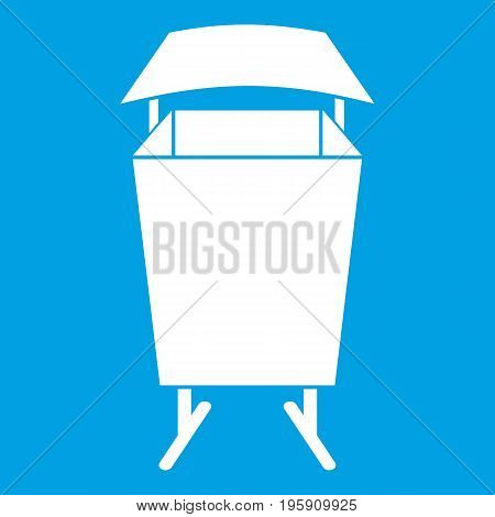 Litter waste bin icon white isolated on blue background vector illustration