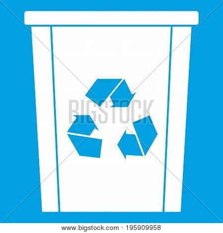 Trash bin with recycle symbol icon white isolated on blue background vector illustration