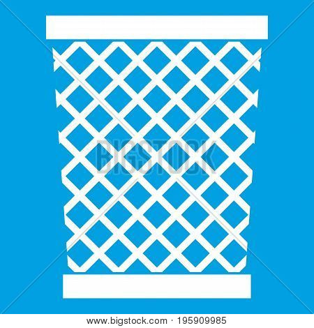 Wastepaper basket icon white isolated on blue background vector illustration