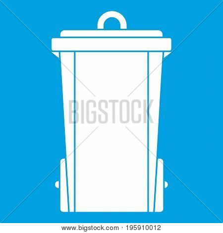 Garbage bin icon white isolated on blue background vector illustration