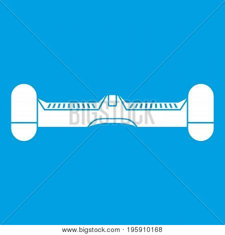 Dual wheel self balancing electric skateboard icon white isolated on blue background vector illustration