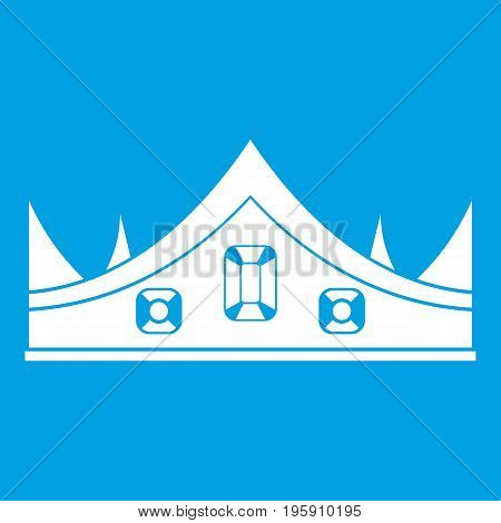 Royal crown icon white isolated on blue background vector illustration