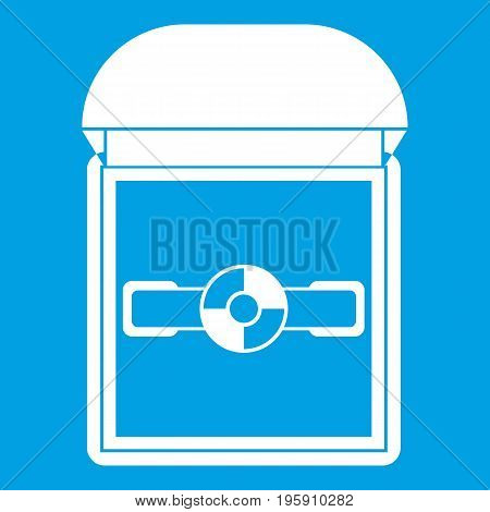 Ring in a velvet box icon white isolated on blue background vector illustration