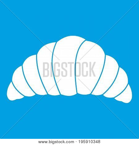 Croissant icon white isolated on blue background vector illustration