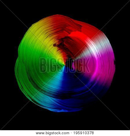 Abstract Acrylic And Watercolor Circle Isolated On White Background.
