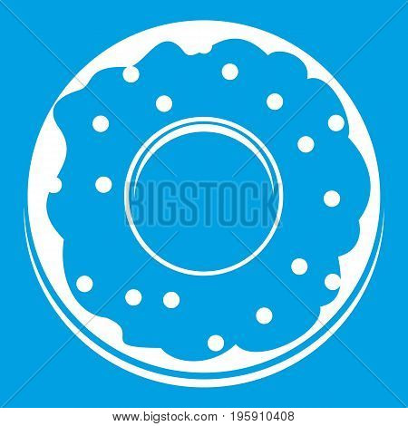 Donut icon white isolated on blue background vector illustration