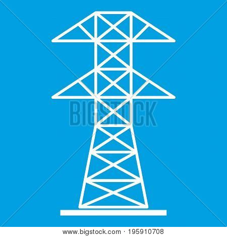 High voltage tower icon white isolated on blue background vector illustration