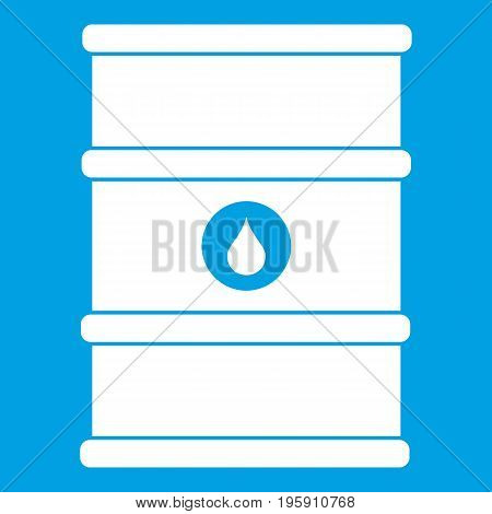 Oil barrel icon white isolated on blue background vector illustration