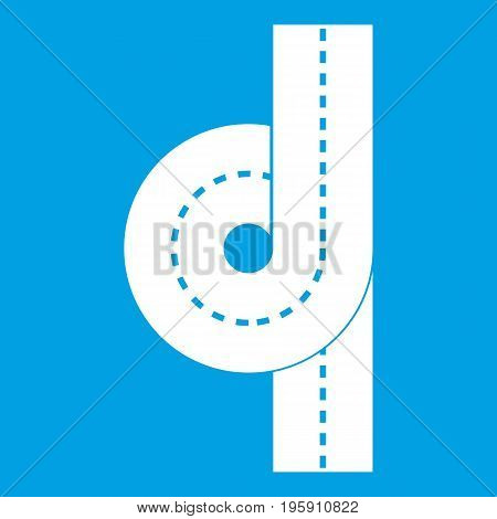 Road junction icon white isolated on blue background vector illustration