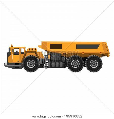 Powerful articulated dump truck. Isolated on a white background. Mechanical engineering heavy industry construction. Flat design. Vector illustration.