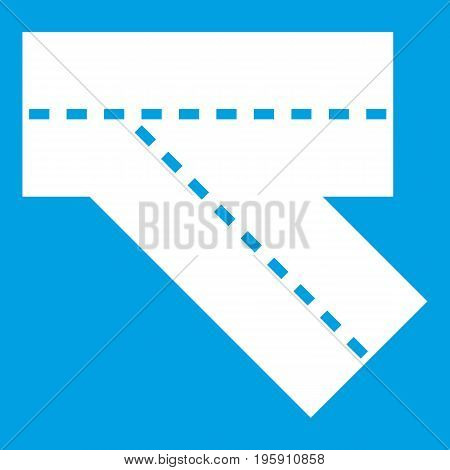 Turn road icon white isolated on blue background vector illustration