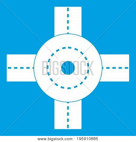 Big road junction icon white isolated on blue background vector illustration