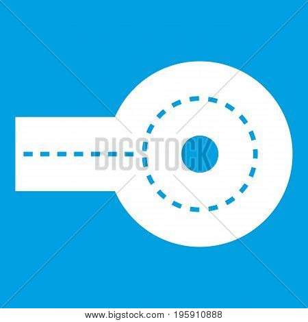 Circular impasse icon white isolated on blue background vector illustration