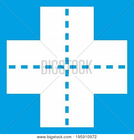 Crossroad icon white isolated on blue background vector illustration