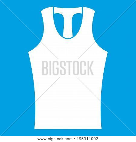 Sleeveless shirt icon white isolated on blue background vector illustration