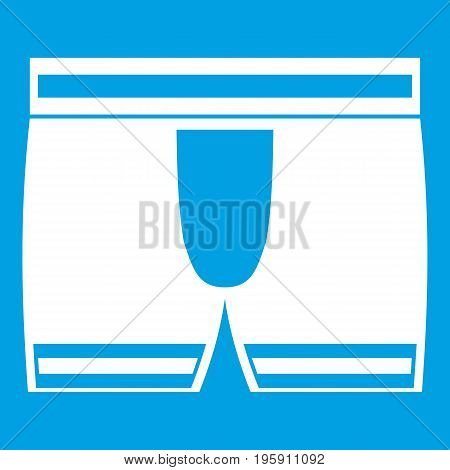 Man boxer briefs icon white isolated on blue background vector illustration