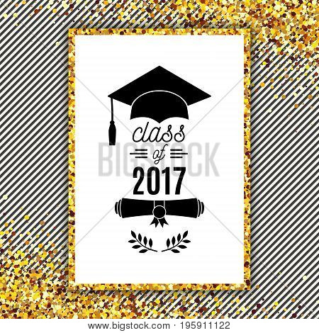 Class of 2017 greeting card with hat scroll and laurel on stripe background for invitation banner poster postcard. Vector graduate template