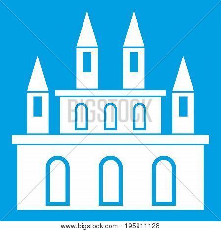 Medieval castle icon white isolated on blue background vector illustration