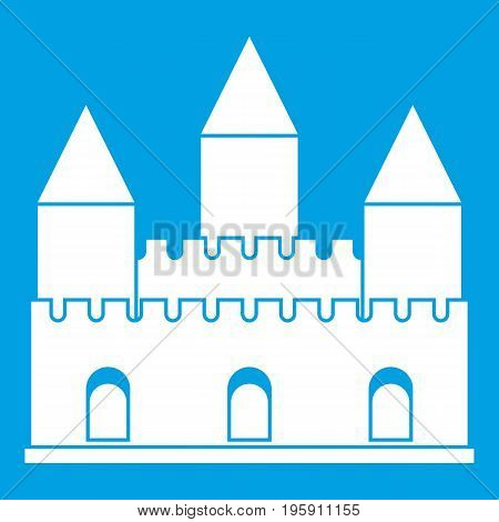 Castle tower icon white isolated on blue background vector illustration
