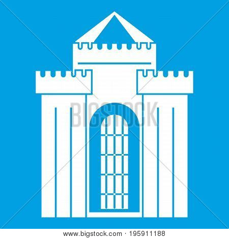 Medieval palace icon white isolated on blue background vector illustration