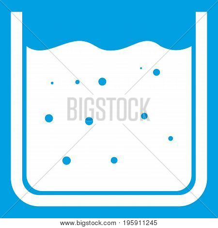 Beaker filled with liquid icon white isolated on blue background vector illustration