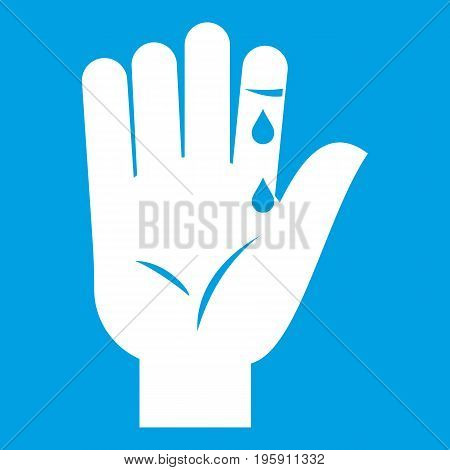 Finger with blood dripping icon white isolated on blue background vector illustration