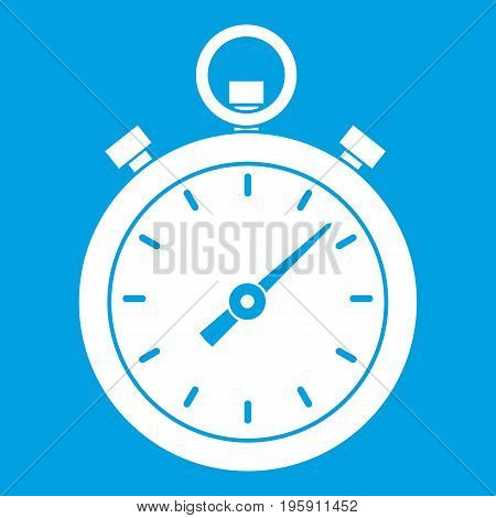 Chronometer icon white isolated on blue background vector illustration