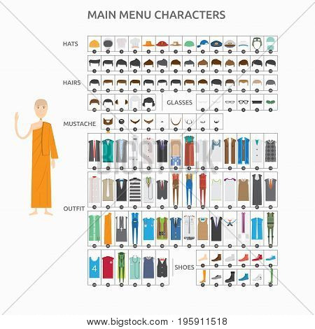 Character Creation Lecturer Monk | set of vector character illustration use for human, profession, business, marketing and much more.The set can be used for several purposes like: websites, print templates, presentation templates, and promotional material