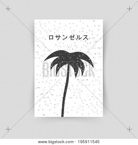 Los Angeles. Palm tree. Print, composition in a minimalist style.