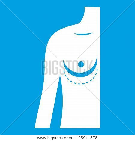 Breast implant surgery. icon white isolated on blue background vector illustration