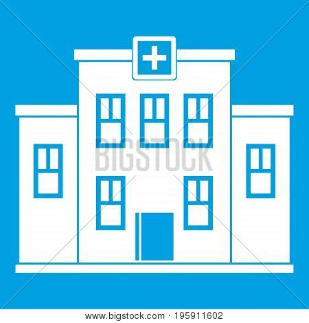 City hospital building icon white isolated on blue background vector illustration