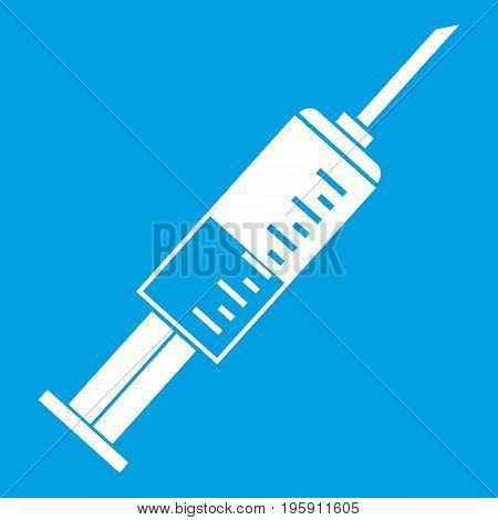 Syringe icon white isolated on blue background vector illustration