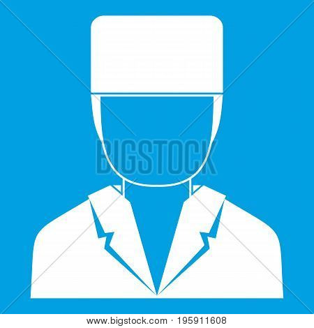 Medical doctor icon white isolated on blue background vector illustration