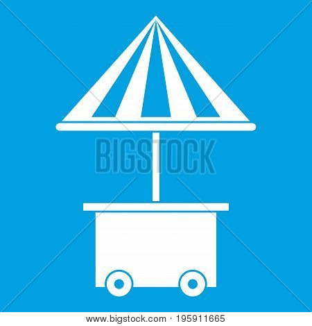 Mobile cart with umbrella for sale food icon white isolated on blue background vector illustration