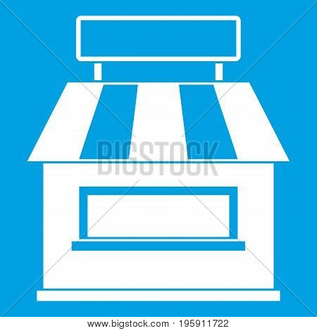 Shop building facade icon white isolated on blue background vector illustration