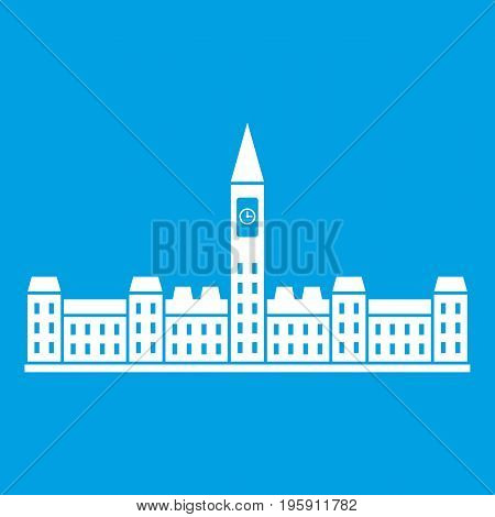 Parliament Building of Canada icon white isolated on blue background vector illustration