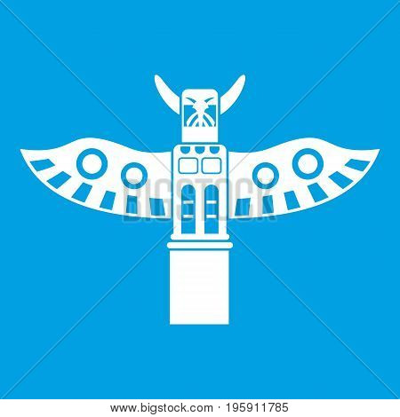 Traditional religious totem pole icon white isolated on blue background vector illustration