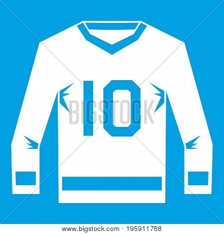 Hockey jersey icon white isolated on blue background vector illustration
